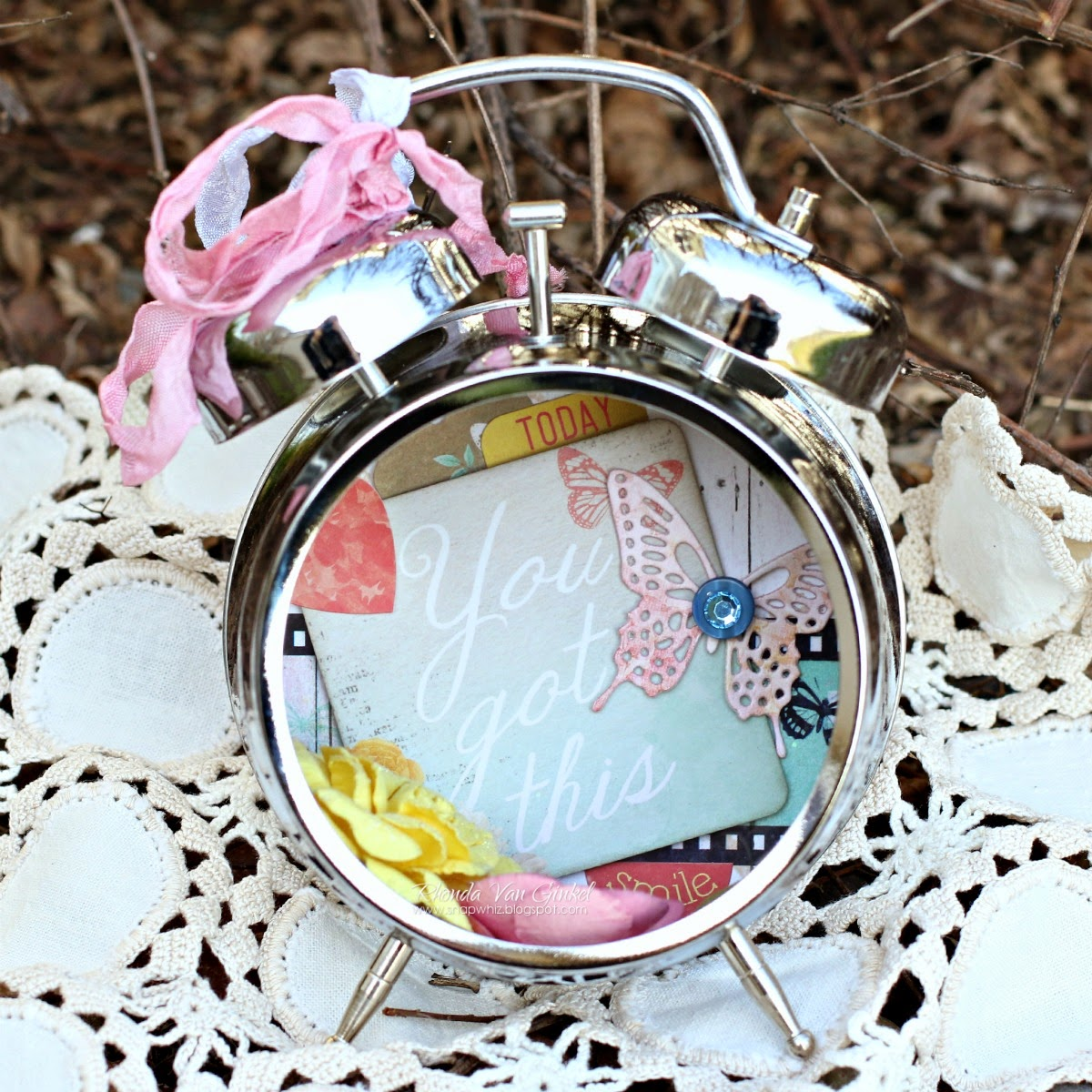 Altered Clock featuring Sweet Life collection by BoBunny and Scrapbook Adhesives by 3L designed by Rhonda Van Ginkel