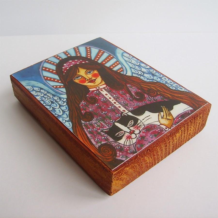 Drewniany obrazek obraz ilustracja dla dziewczynki dziecka prezent upominek na gwiazdkę ozdoba dekoracja bożonarodzeniowa świąteczna anioł aniołek kot kotek