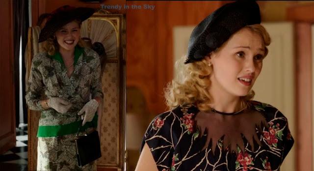 El tiempo entre costuras. Capítulo 3. Rosalinda Fox vestido verde mariposas y vestido negro transparencia.