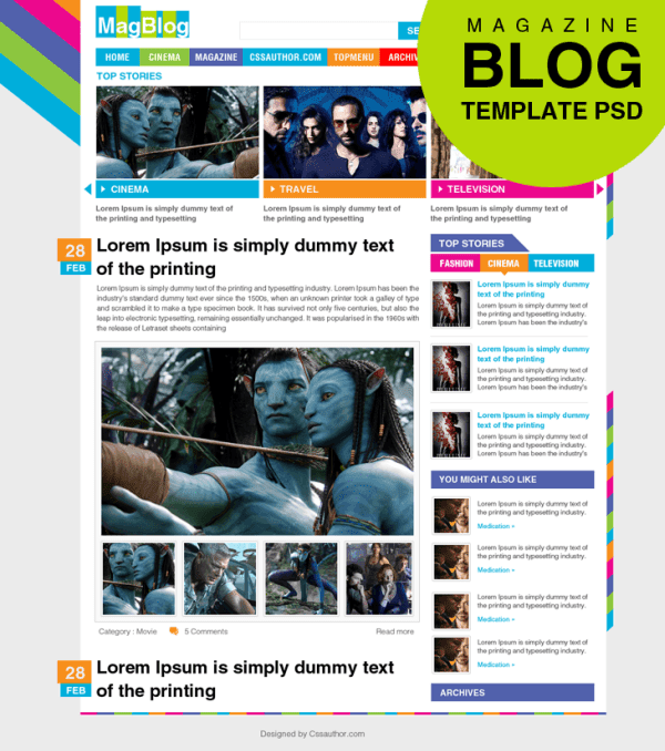 Magazine Blog Template PSD