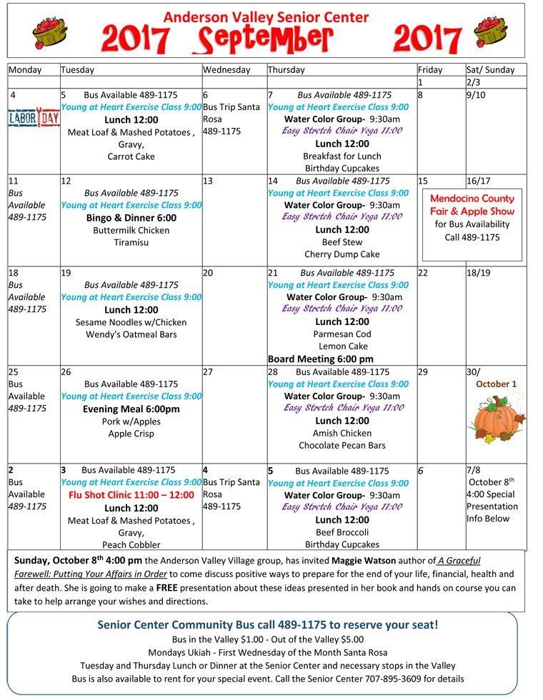 Current Menu and Events