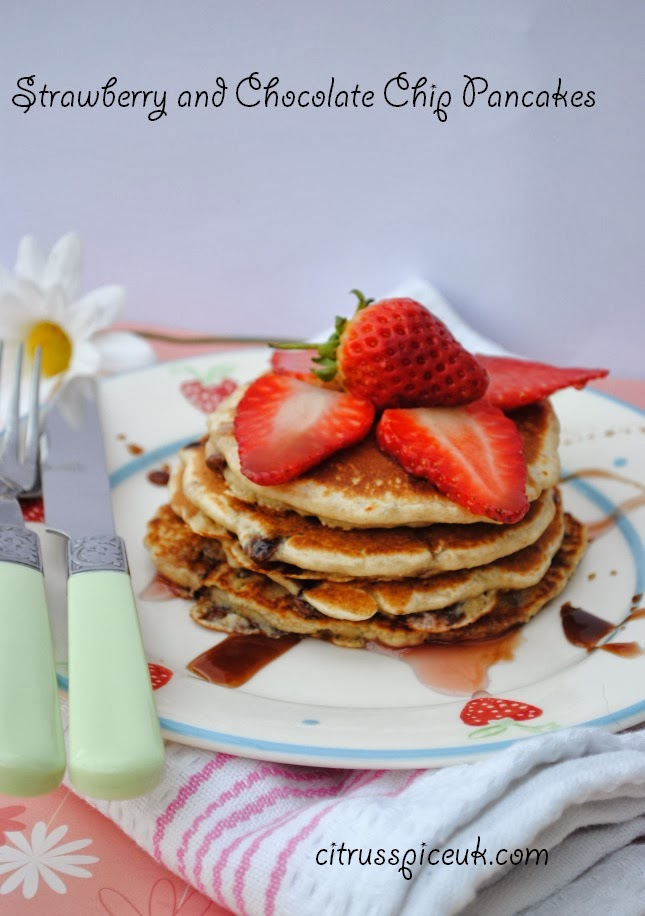 Double Chocolate Pancakes With Strawberry Sauce Recipe — Dishmaps