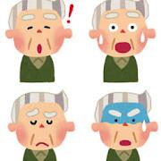 おじいさんのイラスト「驚いた顔・ひらめいた顔・悩んだ顔・焦った顔」
