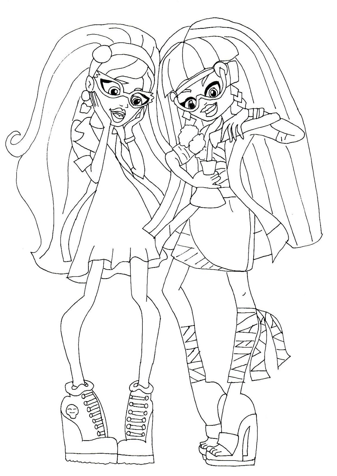 Free Printable Monster High Coloring Pages: Cleo and Ghoulia Mad ...