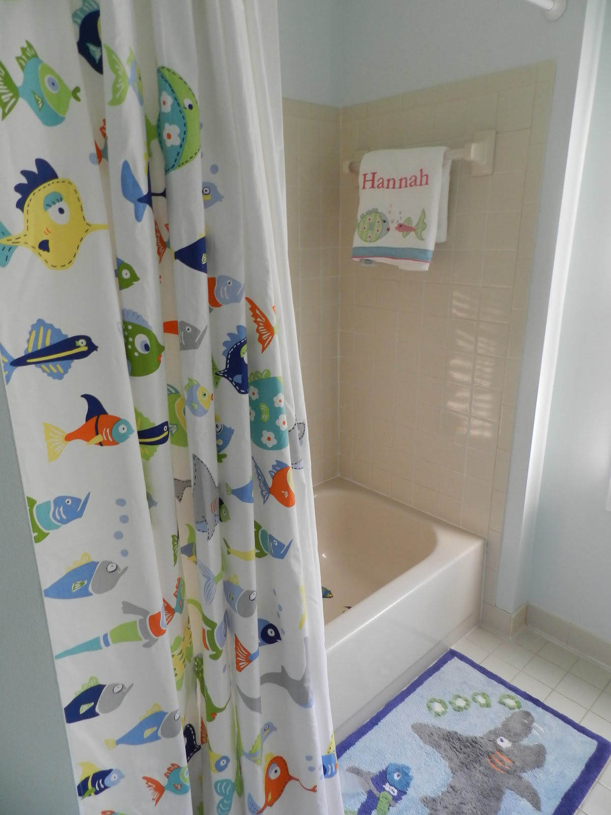 Fish shower curtains for kids - I Am Pleased With The Results And Just Need To Create Some Artwork For The Walls And Find Some Knickknacks For The Shelves And It Will Be All Finished