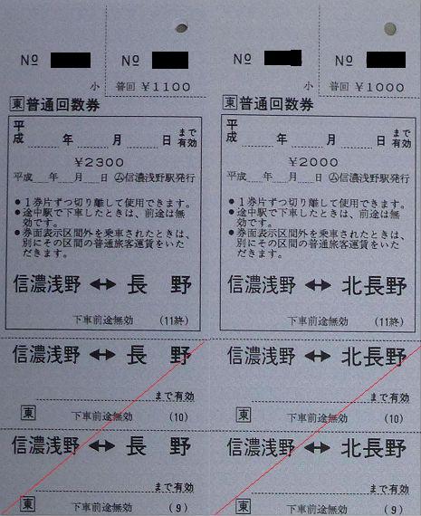 信濃浅野駅 常備軟券乗車券3 常備普通回数乗車券