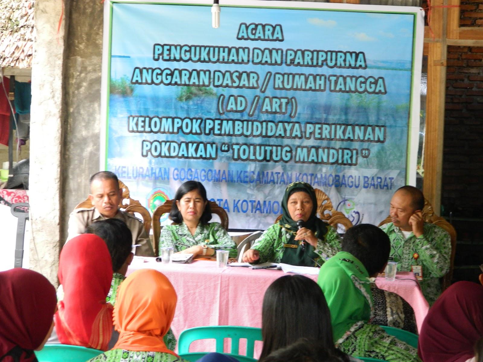 pengukuhan pengurus dan rapat paripurna anggaran rumah tangga (ad-art) pokdakan tolutug mandiri kelurahan gogagoman.