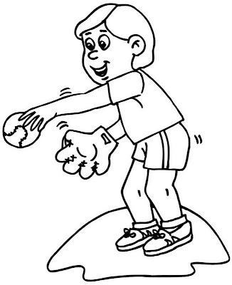 Niño jugando Baseball ~ 4 Dibujo
