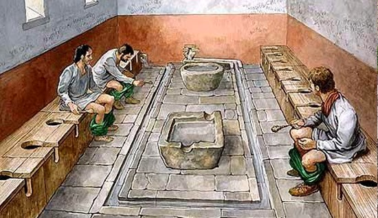 A história do banheiro - Roma antiga - Esponjas de limpeza