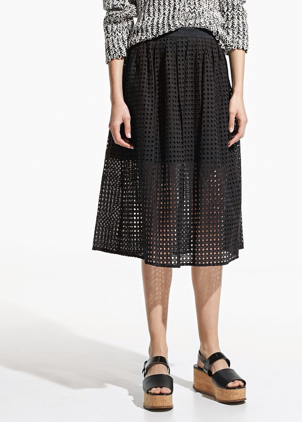 mango cutout skirt, black square cut skirt,