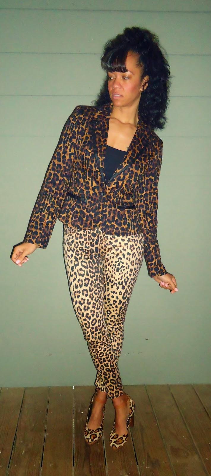Leopard Skinny Jeans and Blazer