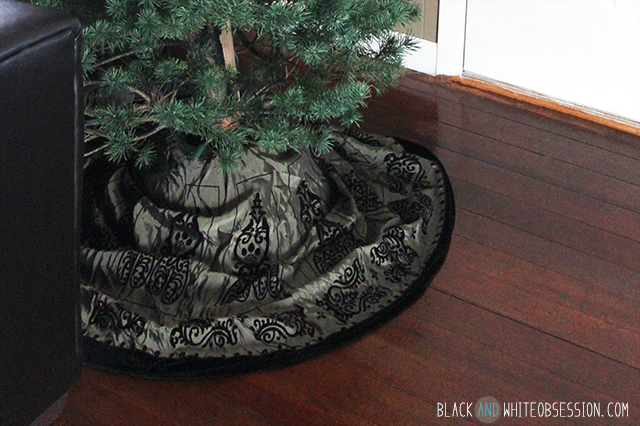 Black and White Obsessions first real Christmas Tree skirt