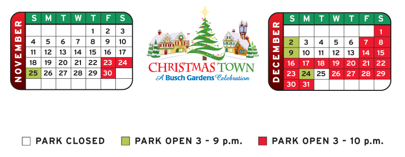 christmas town at busch gardens in williamsburg