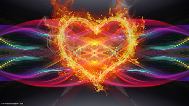 Colorful abstract wallpaper with fire love heart