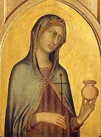 En la imagen Santa Marta con la vasija de agua bendita.