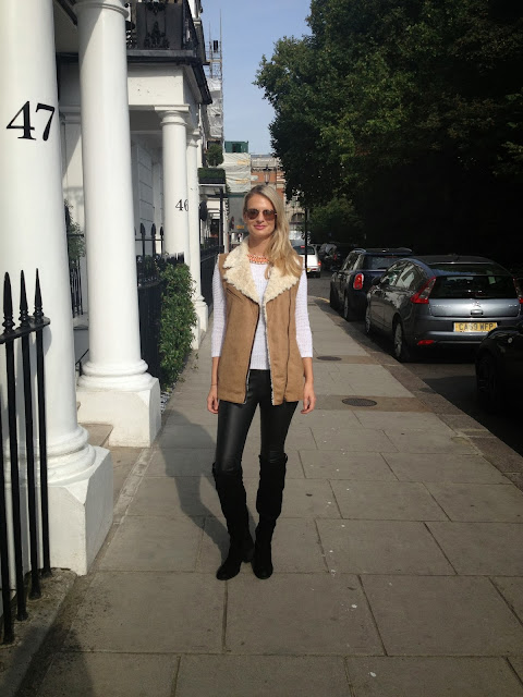 Fur gilet, Zara, faux fur, vest, Kurt Geiger, Overknee boots, london street style, chrissabella blog
