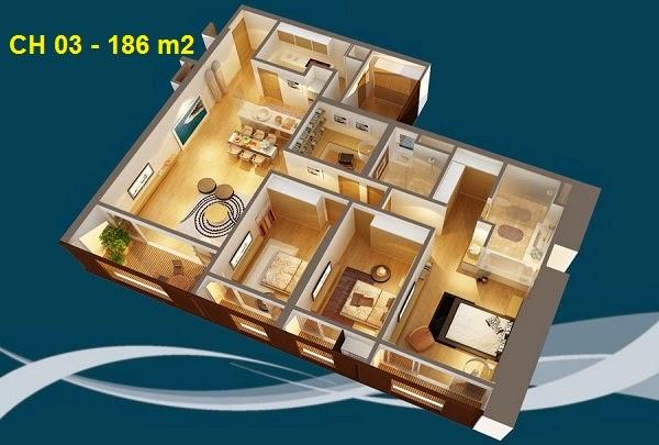 Thiết kế chi tiết căn hộ 03 - 186m2 chung cư Dolphin palza 28 trần bình