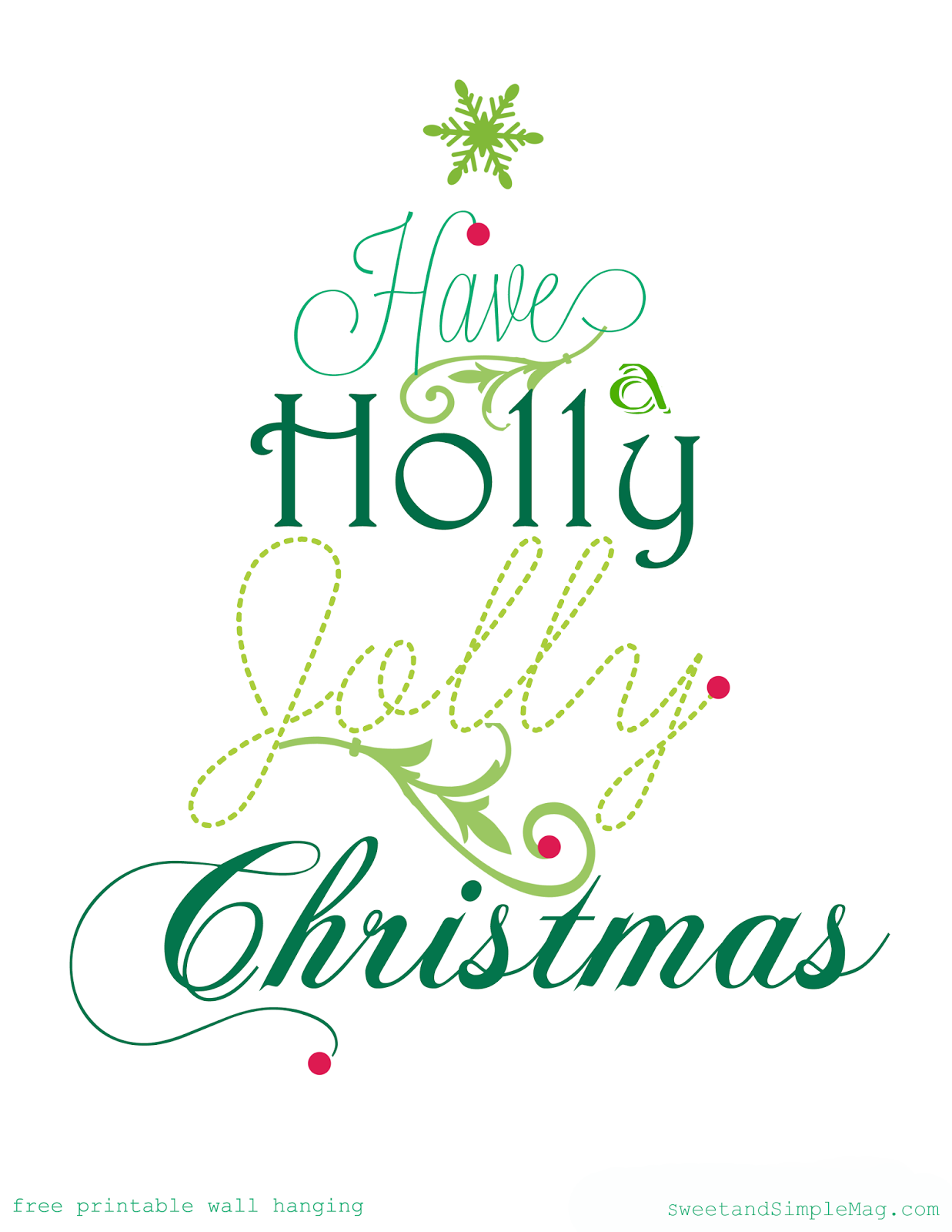 Sweet and Simple Magazine: Holly Jolly Free Christmas Printable * 25 ...