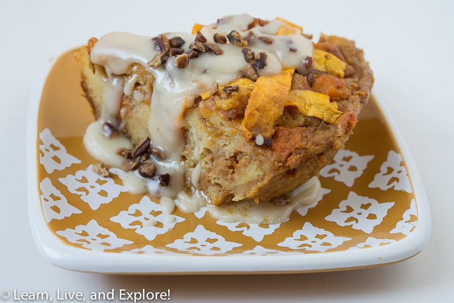 ... pumpkin and butternut squash bread pudding with a bourbon pecan sauce