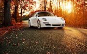 . 911 blanco que que esta en la calle rodeado de arboles durante el otoño. bello carro en la carretera de otoã±o