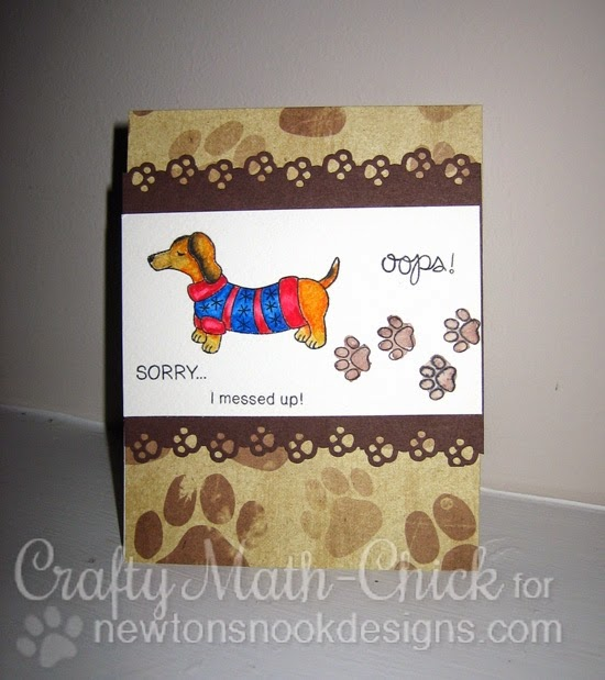 Naughty Puppy Dachshund in Sweater card by Crafty Math-Chick | Stamps by Newton's Nook Designs
