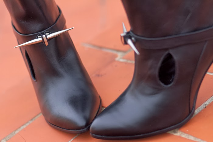 Booties details hole cuts leather spikes studs black trend 2014 rock style fashion shoeaholic