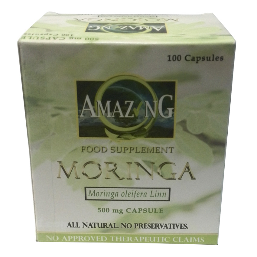 Amazing Food Supplement Moringa 500mg Capsules, Box of 100
