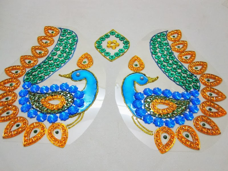 Itscraftstime floor rangoli 2 peacock for Floor rangoli design