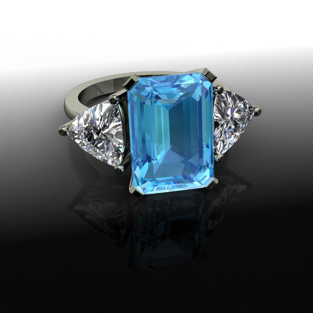 jeweller in emerald cut aquamarine engagement ring