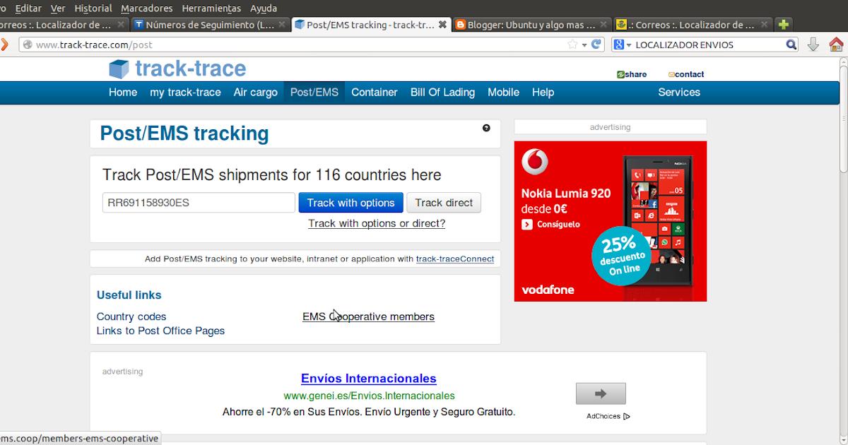 Ubuntu y algo mas: Localizador envíos Internacionales.