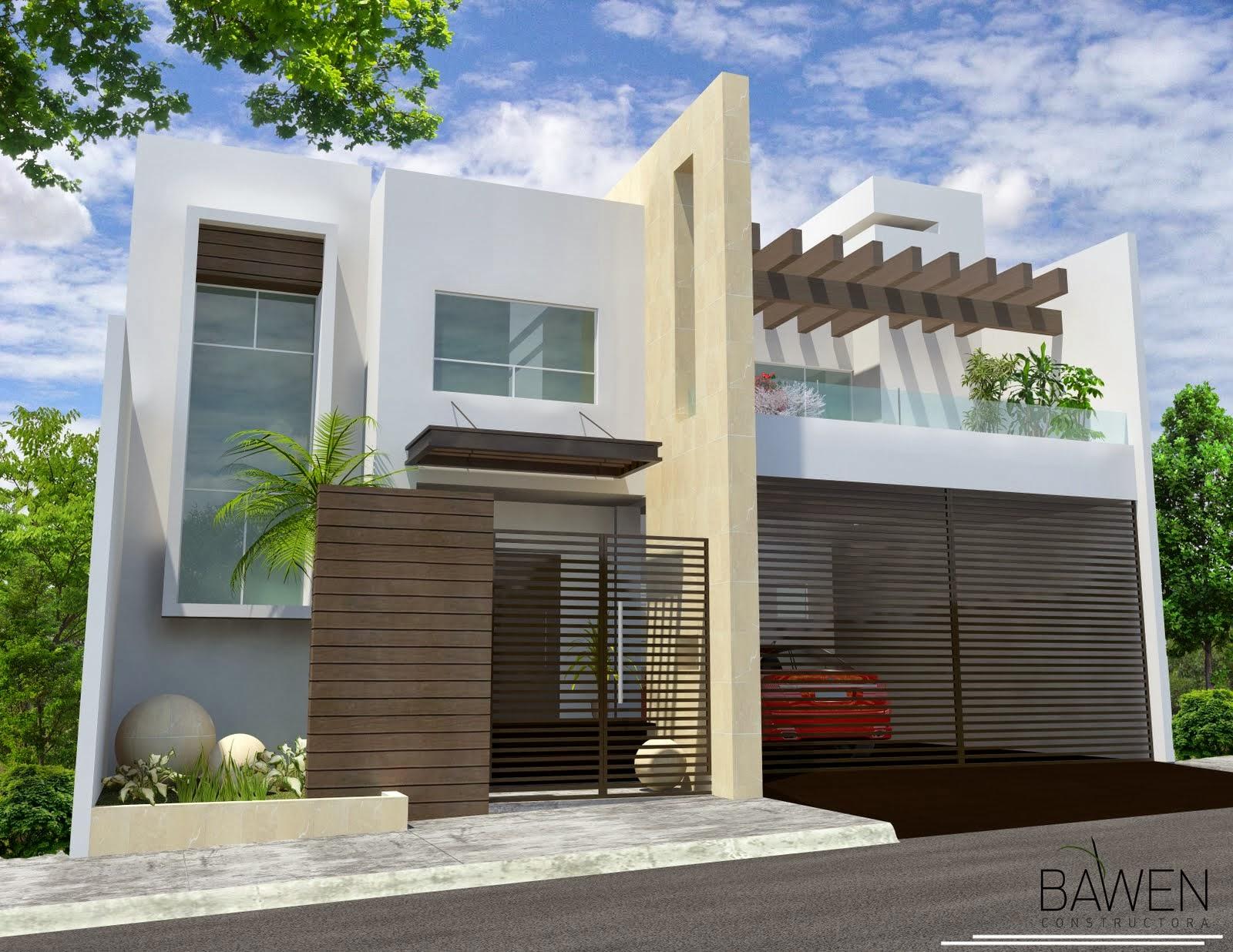 Fachadas minimalistas fachada minimalista con balcon al for Planos de oficinas pequenas modernas