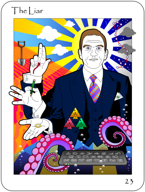 Idigo Roth's The Liar Tarot Card
