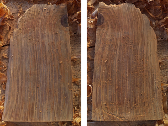 Front and back of a wooden board, after planing lying on a wooden bench.