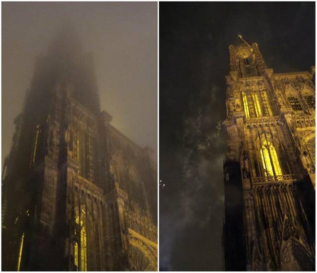 Fuegos Articiales en la Catedral de Estrasburgo Fin de Año