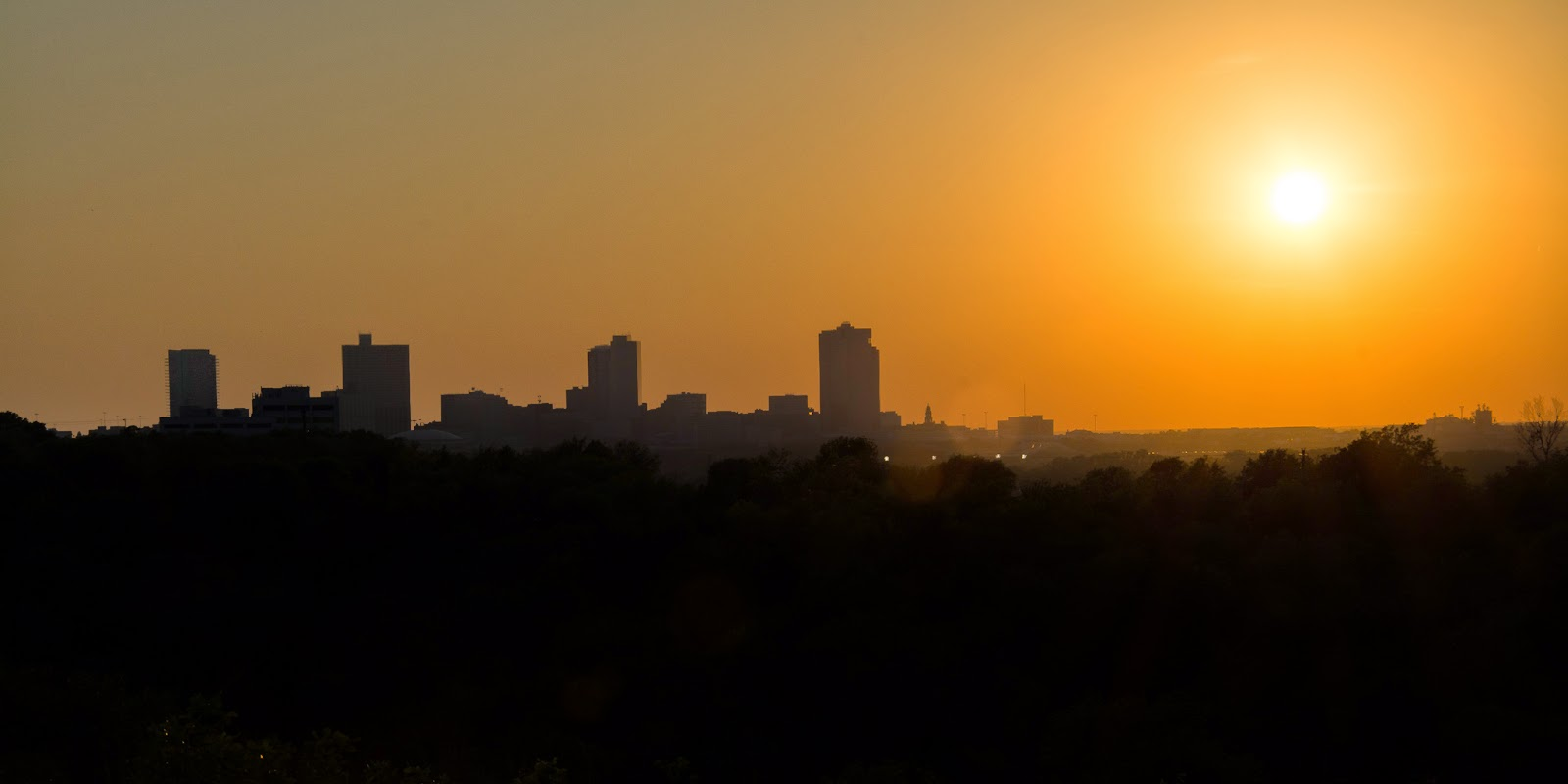 Fort Worth skyline at sunset, Tandy Hills Natural Area