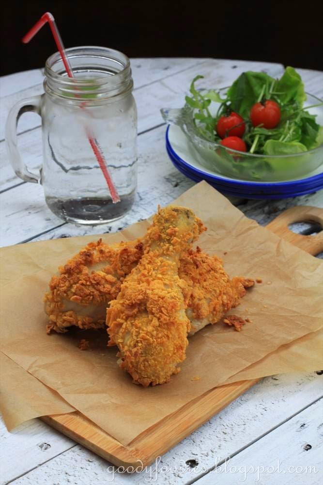 "... Light Challenge + Recipe: Oven-baked buttermilk ""fried chicken"
