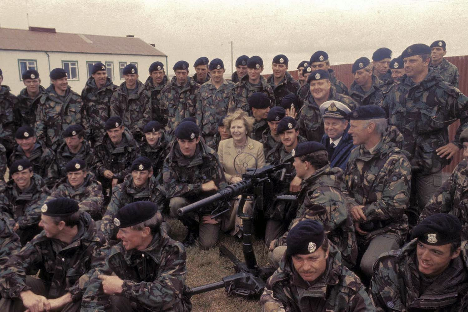 Thatcher's boys: Visiting troops in the Falklands in 1983.
