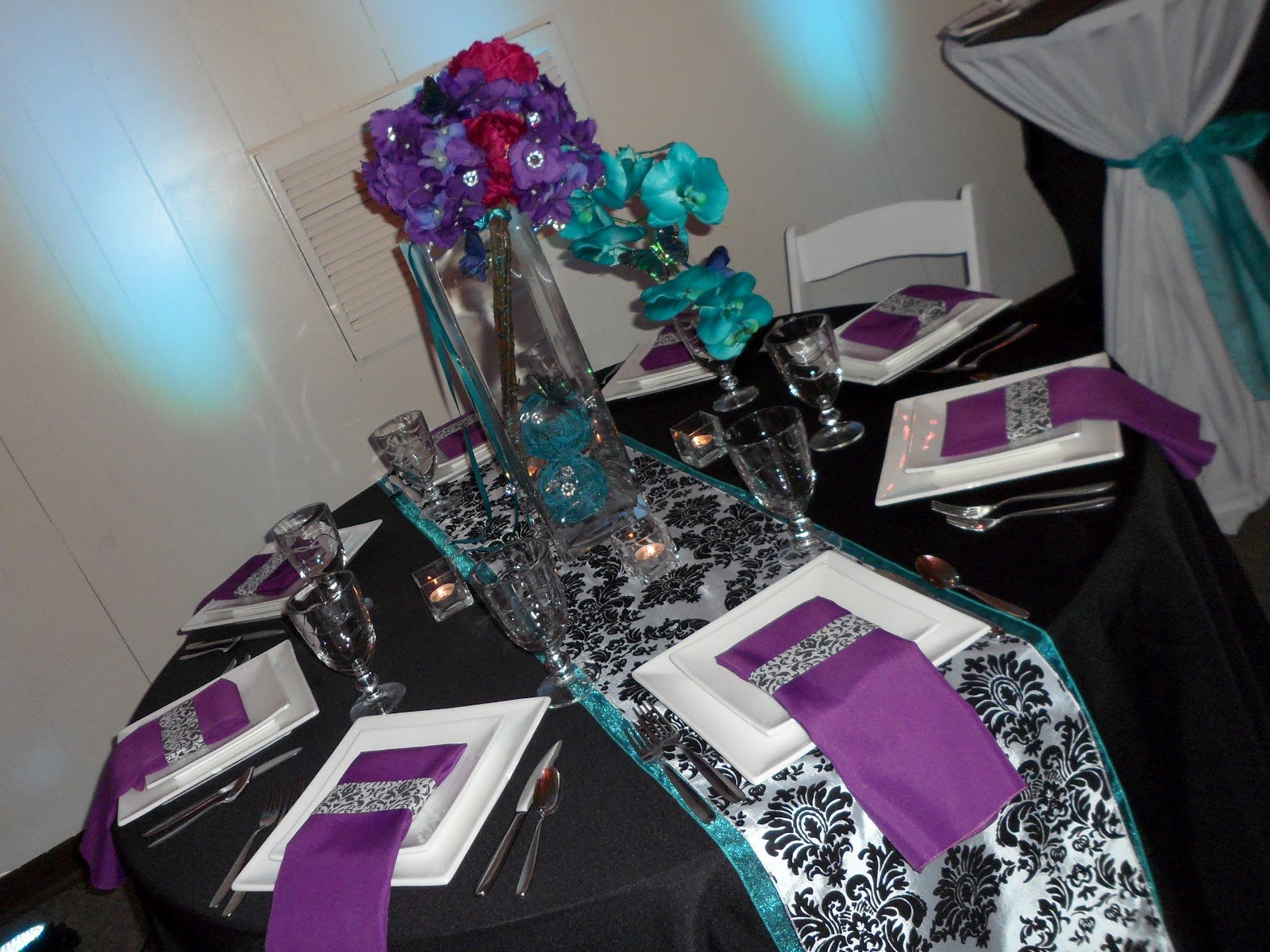 Teal and purple table display elite events rental - Purple and teal centerpieces ...