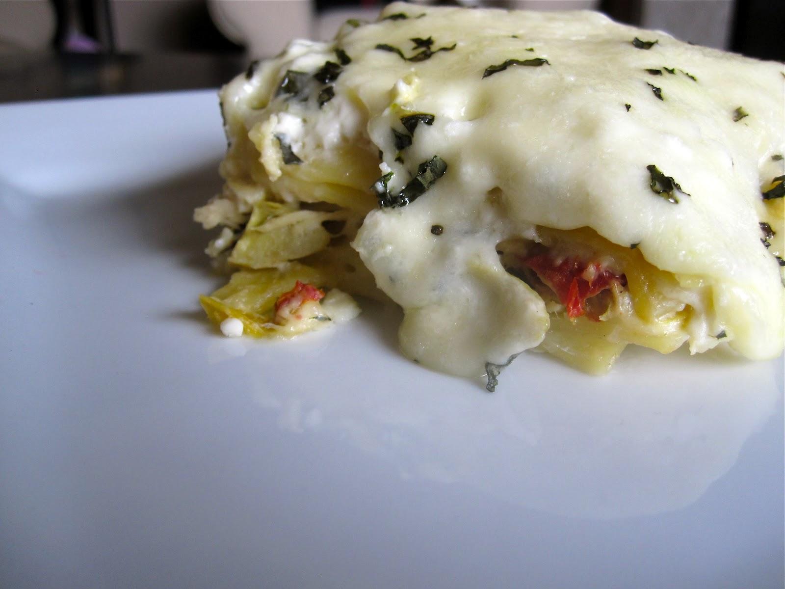 Creamy White Chicken & Artichoke Lasagna - Catz in the Kitchen