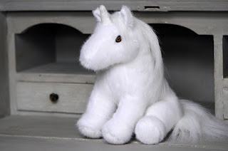 Peluche licorne blanche made in France