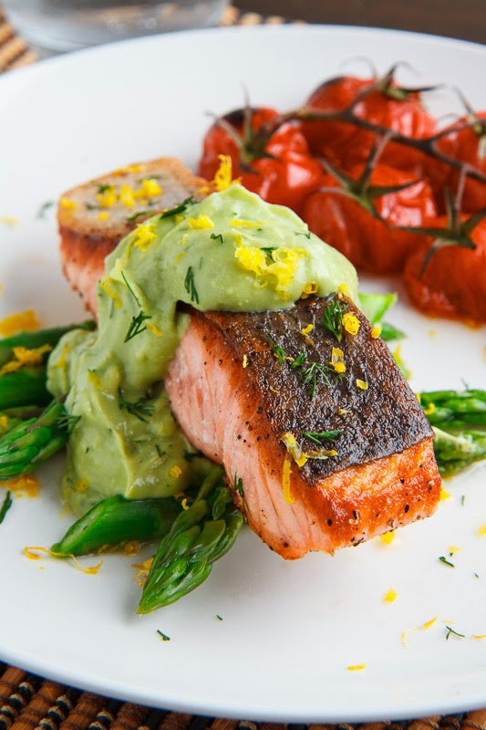 Seared Salmon in Dill Avodaise (Avocado Hollandaise) Sauce on Closet ...