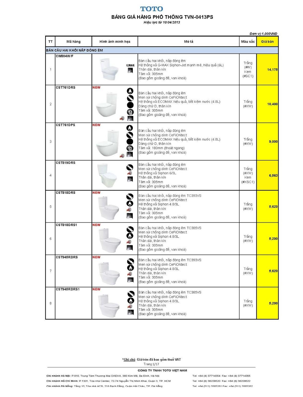 Báo giá Thiết bị vệ sinh ToTo-2013_Price_List_TVN0413PS
