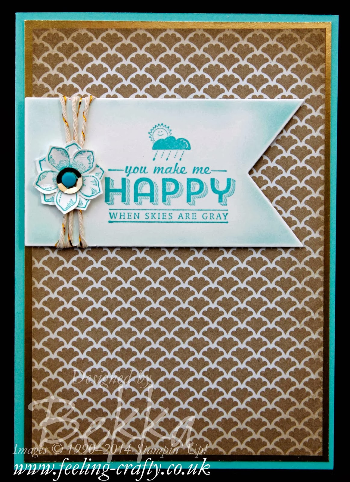 You Make Me Happy Card with a link to how she created the frame on this adorable banner
