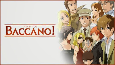 The logo of Baccano! and a selection of characters.