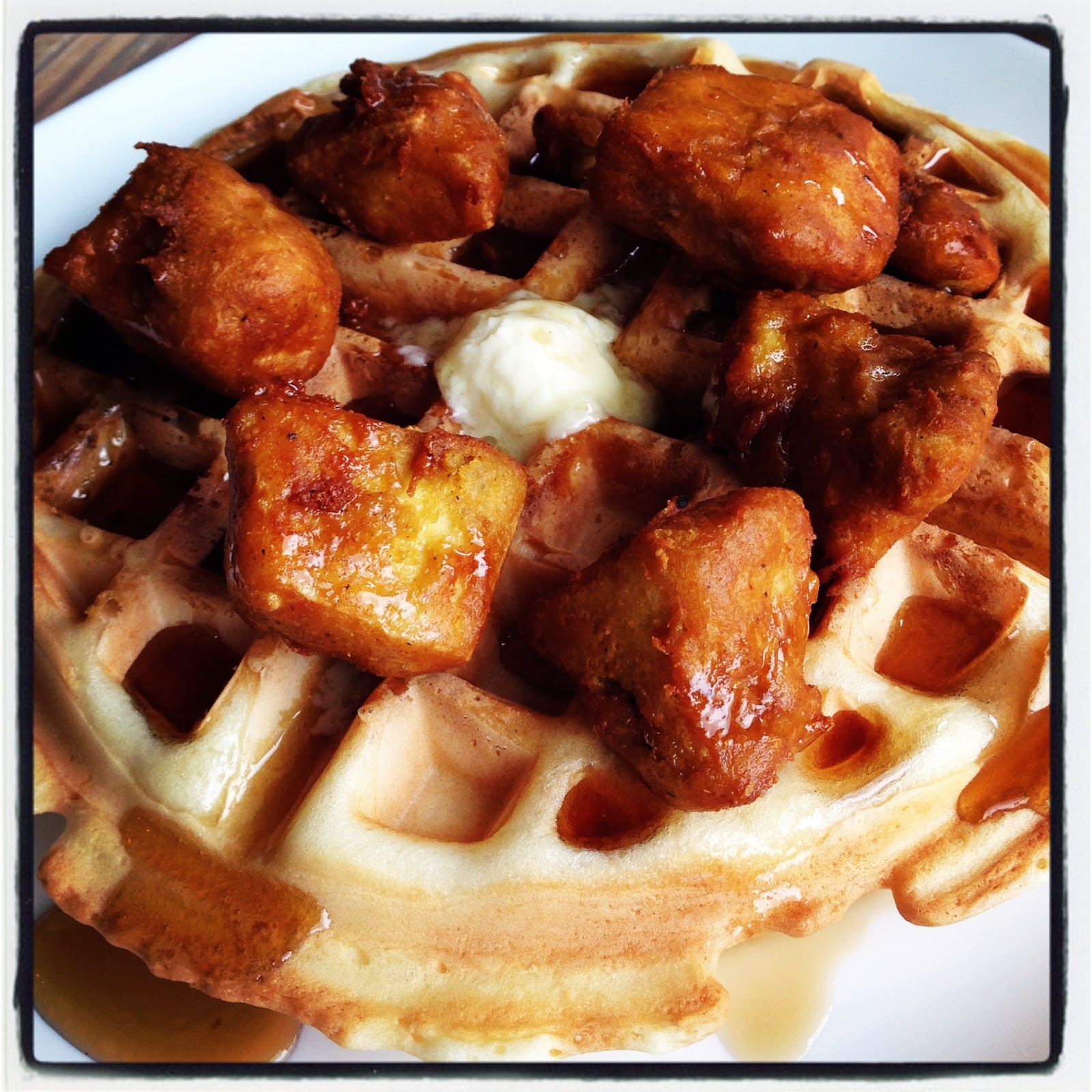 (Vegan) (gluten-free) waffle and (tofu) nuggets at Seed in New Orleans