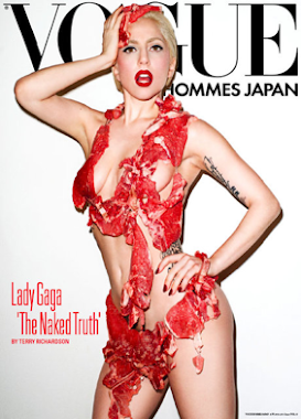 LADY GAGA VOGUE JAPAN WEARING A DRESS MADE OF MEAT