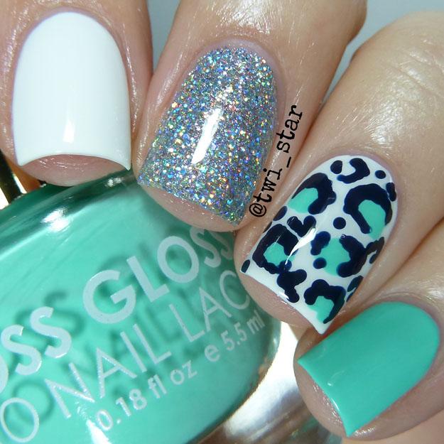 Floss Gloss Wet Leopard spots mani