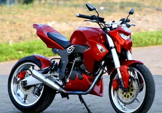 Honda Tiger Revo Modif Ala Street Fighter Merah