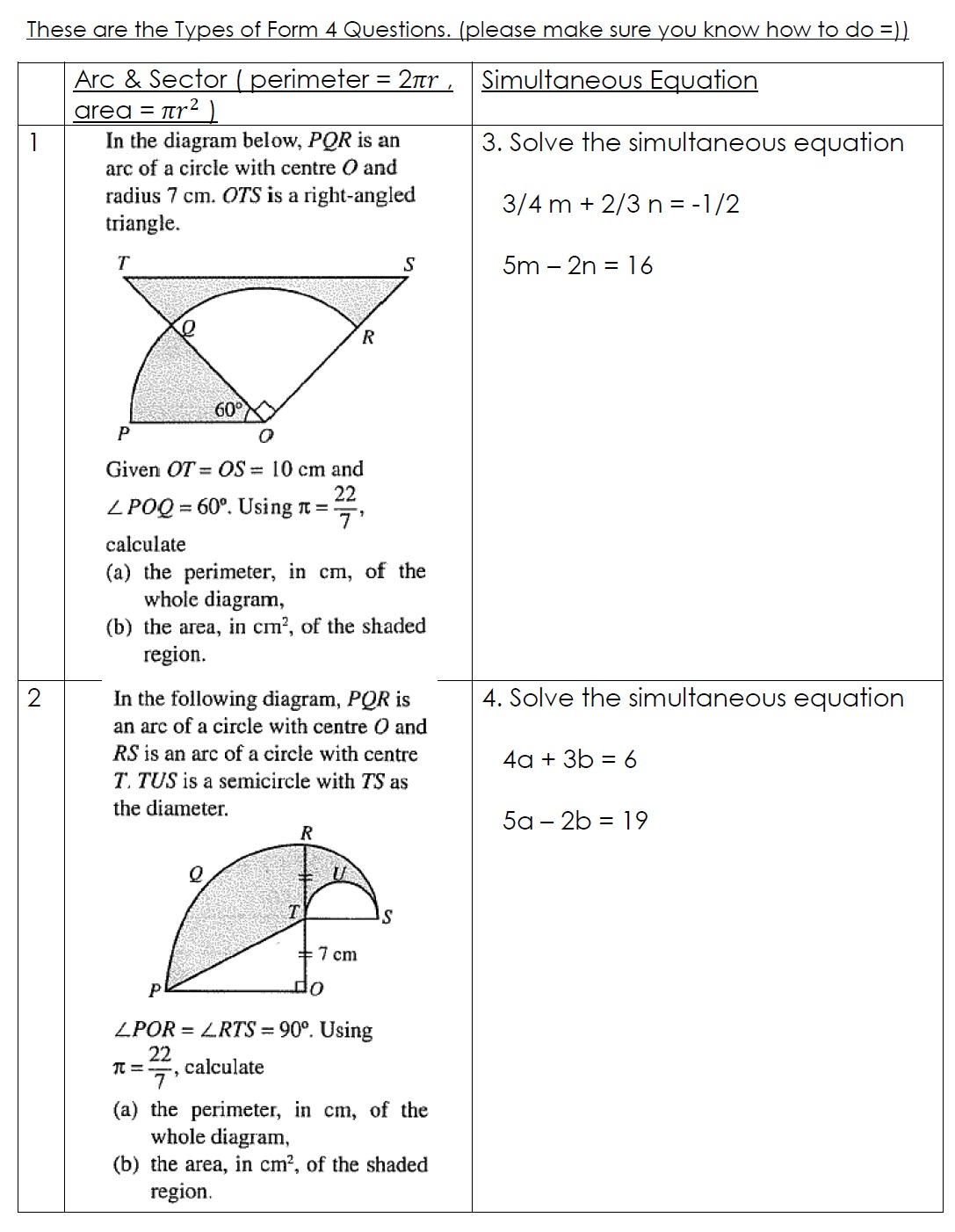 TTC MATHS DEPARTMENT: Form 4 (Paper 2) Please Try Out =)
