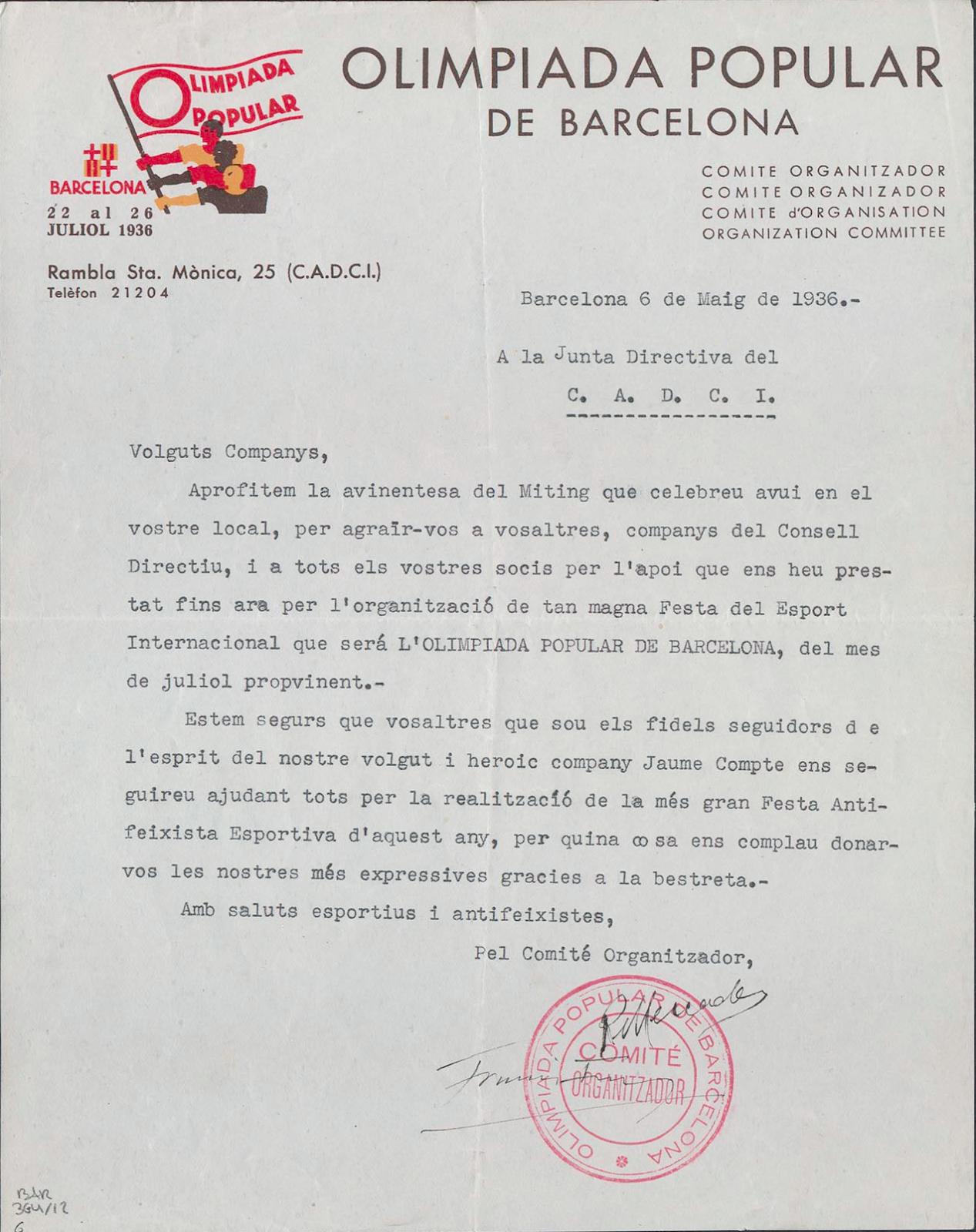 Recordem: 19 de juliol de 1936. L'Olimpíada que no va poder ser